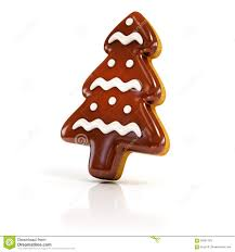 chocolate biscuit gingerbread christmas tree on white stock