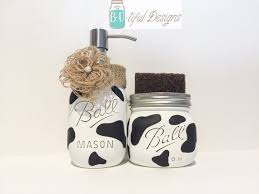 themed soap dispenser cow print kitchen decor soap dispenser jar and sponge
