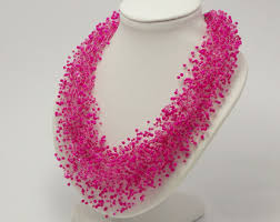 pink beads necklace images Pink jewelry etsy jpg
