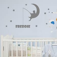personalised pink anchor name wall sticker vinyl decal v c personalised boy on the moon fishing for his name wall sticker