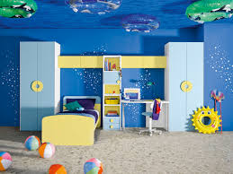 underwater themed blue and yellow boys room interior design ideas
