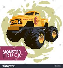 mud truck clip art vector yellow monster truck flames on stock vector 533610181