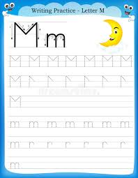 writing practice letter m stock vector image of activity 50726559