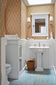 bathroom chair rail ideas cottage powder room with skylight interior wallpaper zillow