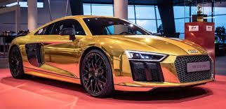 audi germany one off gold audi r8 v10 plus on display in germany