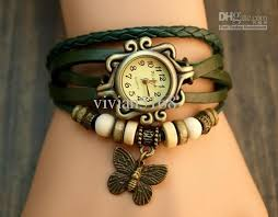 vintage bracelet watches images Butterfly bracelet watches genuine cow leather strape wrist watch jpg
