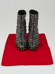 christian louboutin anthracite leather ariella clou studded ankle