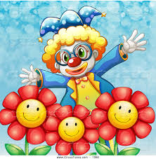 circus clipart of a funny happy clown with flowers by graphics rf