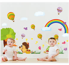 popular large tile stickers buy cheap large tile stickers lots 2 pcs set large size rainbow cartoon wall stickers for kids room decorations cartoon decals