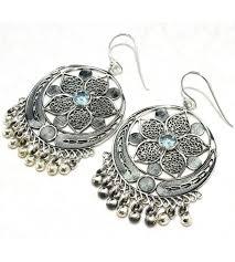 jumka earrings earrings new fashion design faceted blue topaz gemstone silver