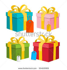 boxes with bows gift boxes vector present box flat stock vector 527227096
