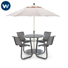 outdoor table bar height 42 inch with chairs plastisol coated