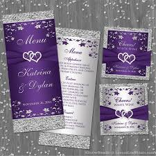 Purple And Silver Wedding Purple Silver Wedding Invitation Set Joined Hearts Jewel