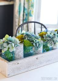 rustic spring planter box centerpiece with mason jars u0026 hydrangeas