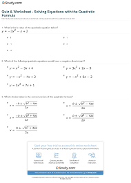 print how to use the quadratic formula to solve a quadratic equation worksheet