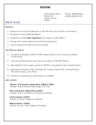 Sap Bo Resume Sample by Sap Pp Module Resume