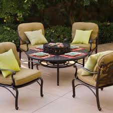 Garden Table And Chairs With Fire Pit Darlee Catalina 5 Piece Cast Aluminum Patio Fire Pit Seating Set