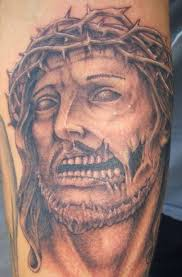 jesus portrait and rose tattoos on sleeve in 2017 real photo