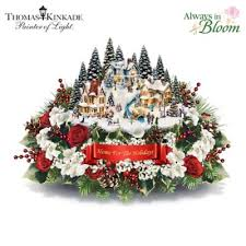 Table Centerpiece Thomas Kinkade Always In Bloom Home For The Holidays Table Centerpiece