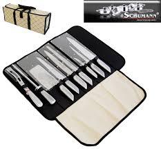 mallette couteaux de cuisine professionnel pochette couteaux 9 pieces inox pro schumann coutellerie topkoo