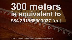 300 meter to feet 300 m to ft how long is 300 meters in feet convert