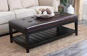 Black Leather Ottoman Living Room Leather Ottoman Coffee Table With Brown Carpet And