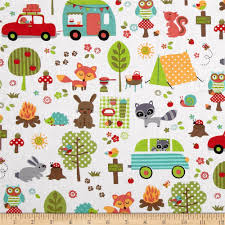 michael miller sorbet camp out white discount designer fabric