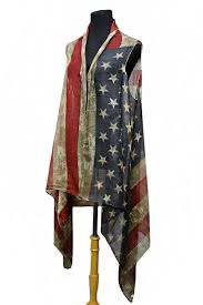 American Flag Cardigan Flag Semi Sheer Sleeveless Cardigan Vintage Distressed Kimono Top