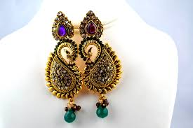 peacock design earrings indian jewelry store swasam hanging earring peacock design