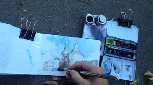 urban watercolor sketching view on a monastery from moscow street