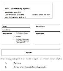 staff meeting agenda template excel u0026 word templatessample staff