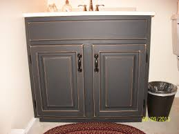 finished bathroom vanity cabinet with black chalkboard paint then