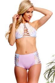 high waisted swimsuits lavender multi print design cutout accent crop top high waist