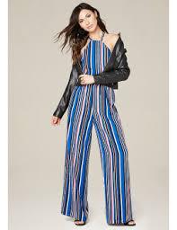 bebe jumpsuit shoptagr striped wide leg jumpsuit by bebe
