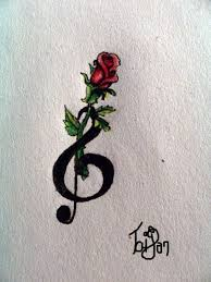 cute red rose and treble clef tattoo tattoomagz