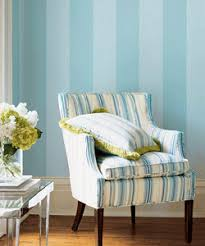 Blue And White Striped Upholstery Fabric Room Decor With Stylish Stripes Illusion