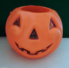 vintage best plastic blow mold halloween pumpkin jol candy bucket