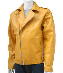biker jacket men men u0027s yellow biker jacket men u2013 leather jacket showroom