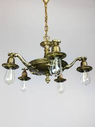 Art Deco Ceiling Lamp Art Nouveau Bare Bulb Light Fixture 5 Light
