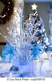 Christmas Centerpiece Images - stock image of christmas centerpiece winter wonderland theme on