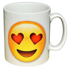 heart shaped mug smiling with heart shaped emoji emoticon ceramic