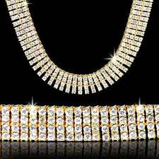 hip hop jewelry necklace images 4 row iced out gold diamond cz chain necklace jewelzking jpg