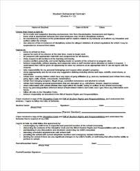 9 student contract templates free sample example format