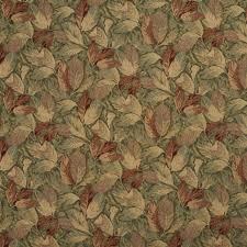 f935 burgundy and green floral leaves tapestry upholstery fabric