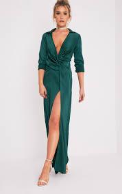 alyssia emerald green twist front maxi shirt dress dresses