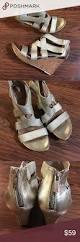 kenneth cole reaction gold cork wedge heel sandals adorable gold