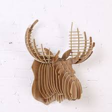 wall hanging wooden crown stag 3d puzzle 5mm home wall decor