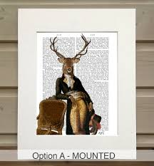 deer print deer and chair book print by fabfunky home decor