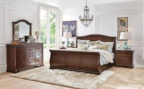 Stratton Queen Bed Brown Cherry Levin Furniture - Bedroom furniture in melbourne