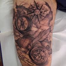 13 black and grey compass tattoos
